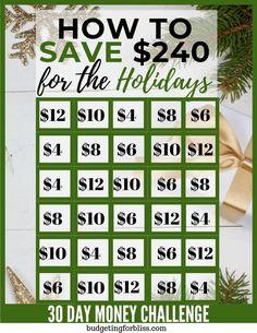 Christmas Money Saving Challenges - Budgeting for Bliss Saving Money Chart, Best Money Saving Tips, Money Tips, Best Saving Plan, Saving Ideas, Ways To Save Money, Money Saving Challenge, Savings Challenge, Christmas Savings Plan