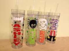 NEW Skinny tumbler: Halloween Personalized with name acrylic tumbler w/ push on lid - name or monogram, Halloween designs & polka dots on Etsy, $12.00
