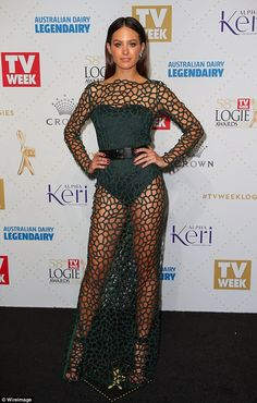 Risque: Jesinta Campbell, 24, turned heads in a very daring olive green bodysuit worn underneath a completely see-through netted dress by local designers, Camilla and Marc, at the Logies 2016