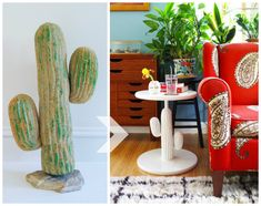 Turning a Plastic Cactus Into a Side Table (Or: Things We Never Thought We'd Have To Do) – Plaster & Disaster – Kathy Riley – Thrift Store Crafts Hairpin Leg Dining Table, Wood Storage Rack, Hanger Bolts, Building A Workbench, Mid Century Dresser, Cement Walls, Adobe House, Thrift Store Crafts, Easy Diy Gifts