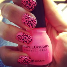 "Konad leopard stamp with sinful nail polish ""24-7"""
