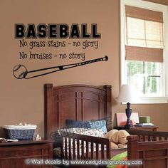 For my Teddy: Baseball Wall Decal  Sports Boys Room Decor  Vinyl by cadydesignz, $24.00