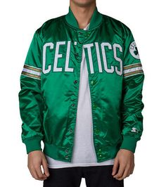 STARTER+Boston+Celtics+polyfill+satin+jacket+Long+sleeves+Full+snap+up+closure+CELTICS+logo+graphic+on+front+Front+pockets+Smooth+satin-feel+finish+NBA+Basketball
