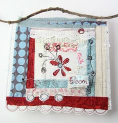cute little fabric collage by Cynthia Shaffer Love the colours in this