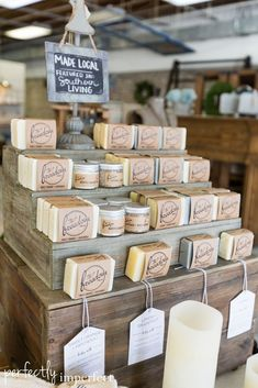 Nice soap display idea for a craft show. Love the hang tags at front of display and the small sign at the top. Fits with branding
