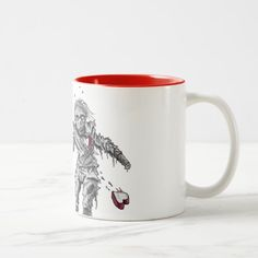 Zombie Heart with Flower Two-Tone Coffee Mug