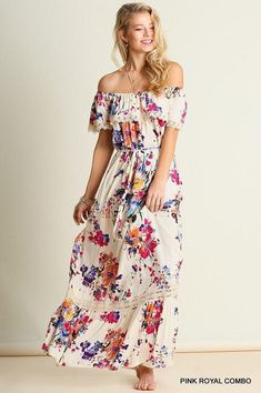 """SPRING TIME SALE: 20% OFF This gorgeous boho dress features an """"off the shoulder"""" design, striking watercolor print, and flowy fit. The ruffle and lace detailing is subtle, yet feminine. The tie-waist completes the flattering look of this beautiful dress. Great quality and will look beautiful on anyone! - Maxi length - Off the shoulder - S, M, or L FREE SHIPPING - NO CODE NECESSARY"""