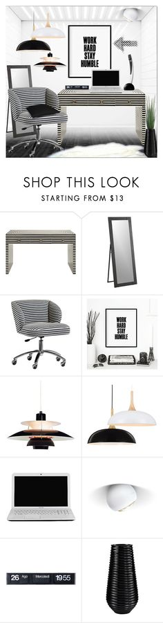 """Home Office in Black and White"" by fassionista ❤ liked on Polyvore featuring interior, interiors, interior design, home, home decor, interior decorating, Worlds Away, Crate and Barrel, PBteen and WALL"
