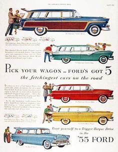 First Car I remember was the 55 Ford Station Wagon. It was the right car for a family of 4 boys and Mom and Dad.