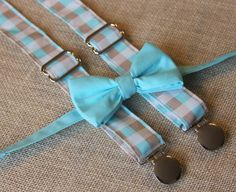 Aqua Teal Bow Tie and Blue Tan Check Plaid by CottonKandyShop, $22.00