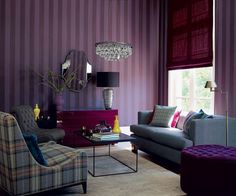 See more ideas about Purple living room paint, Purple living room sofas and Dark purple rooms. Purple Living Room Furniture, Paint Colors For Living Room, Room Colors, Living Room Decor, Living Rooms, Grey Furniture, Apartment Living, Apartment Therapy, Vintage Furniture