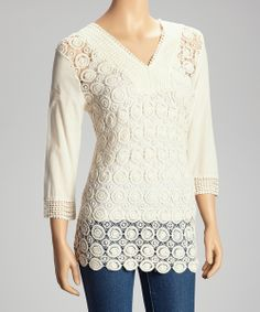 Ivory Circles Crocheted Top