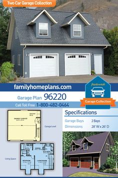 Traditional Style 2 Car Garage Apartment Plan Number 96220 with 1 Bed, 1 Bath Cape Cod, Traditional 2 Car Garage Apartment Plan 96220 with 1 Beds, 1 Baths Garage Plans With Loft, Garage Shop Plans, Loft Plan, Garage Floor Plans, Building A Garage, Garage Ideas, Guest House Plans, Garage Guest House, Family House Plans