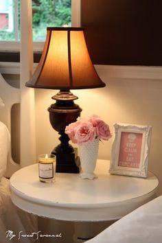 Marshmallow dreaming {as seen in Flea Market Style Magazine #116}. cute styling. Bedside table ideas