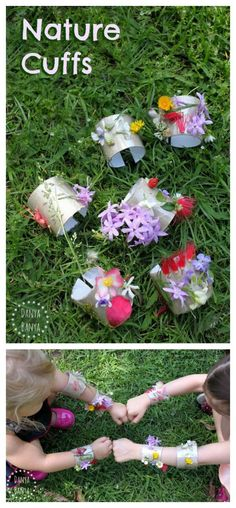 Nature Cuffs - fun flower and nature craft idea for kids. Use toilet paper rolls with a little paint and some flowers. Forest School Activities, Nature Activities, Summer Activities, Craft Activities, Toddler Activities, Flower Activities For Kids, Indoor Activities, Family Activities, Science Nature