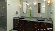 Mizuki   Premier Custom-Built, Inc   Page 3. tile wall behind mirrors, different tile in shower