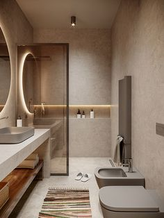 The interior design and courtyard project of a beach house, part of a villas complex in Palase, Vlore. Home Room Design, House Design, Casa Rock, Bathroom Design Inspiration, Bathroom Design Luxury, In China, Minimalist Home Decor, Bathroom Furniture, Small Bathroom