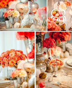 Vaso metalizado para a decoração do casamento