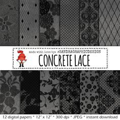 "New to SandraGraphicDesign on Etsy: Lace digital paper: ""CONCRETE & LACE""  concrete digital paper lace digital paper lace patterns black patterns (1084) (3.75 USD)"
