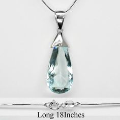 13.60 Carat Natural Greenish Blue Aquamarine Necklace in 925 Sterling Silver #Multajewelry #SolitairewithAccents