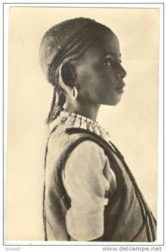 RP Ragazzina abissina, Native girl in braids, 1910s - Delcampe.com