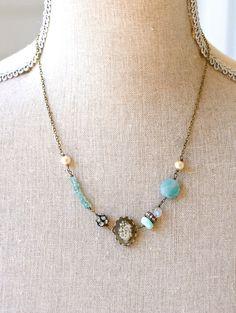Elizabeth. Amazonite,peruvian opal and Apatite gemstone beaded necklace. Tiedupmemories