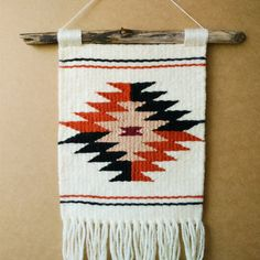 Hand Woven Multicolored Navajo Weaving and Macrame Wall Hanging with Fringe… Navajo Weaving, Weaving Art, Loom Weaving, Tapestry Loom, Tapestry Crochet, Estilo Navajo, Weaving Wall Hanging, Weaving Textiles, Tapestry Design