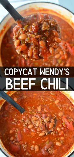 Wendy s copycat chili recipe a delicious and easy copycat chili recipe perfect for winter weather make on stove top or slow cooker amazing hearty savory and so yummy chili easy recipe wendy s chili copycat dinner then dessert Chili Recipe Stovetop, Best Chili Recipe, Chilli Recipes, Bean Recipes, Mexican Food Recipes, Soup Recipes, Chili Recipe Salsa, Wendy Chili Recipe, Chili Beans Soup Recipe