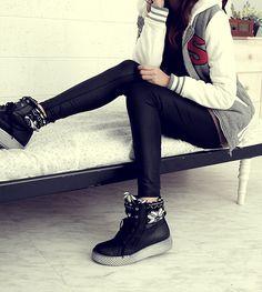 Korean Fashion black leather pants, cute hoodie, with sneakers