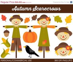 50% OFF - Autumn Scarecrows Clipart - Digital Clip Art Graphics for Personal or Commercial Use $2.65