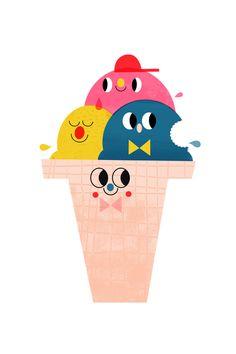 - poster - Yummy illustration by Leah Greenberg. Ice Cream Illustration, Cute Illustration, Inspiration Artistique, Food Illustrations, Cute Cartoon, Kawaii, Cute Art, Art For Kids, Character Design
