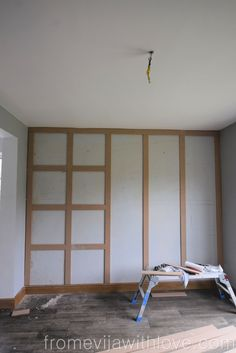 DIY Panel Wall - squares made from MDF board and painted in Farrow and Ball Railings - full tutorial with measurements wall How to Make a Statement Panel Wall using Adhesive - From Evija with Love Accent Wall Bedroom, Bedroom Decor, Bedroom Wall Panels, Diy Wall Panel, Wall Boards Panels, Wall Panel Design, Accent Wall Decor, Accent Walls In Living Room, Wood Panel Walls