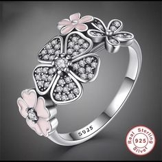 Sterling Silver Pink And Black Daisy Ring