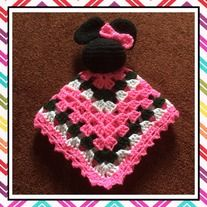 Minnie Mouse Lovey was crocheted using Red Heart Yarn. Black for her head & ears, with a Hot Pink bow. The blanket is a Granny Square in Hot Pink, Hunter Green, & White. Blanket is approximately square. Crochet Lovey, Crochet Beanie, Knit Crochet, Crotchet, Lovey Blanket, Red Heart Yarn, Hunter Green, Crochet Patterns, Crochet Ideas