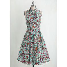 Bird Long Sleeveless Fit & Flare Front Perch Swing Dress ($115) via Polyvore featuring dresses, long vintage dresses, sleeveless wrap dress, ruched dress, vintage wrap dress and retro dresses