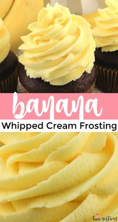 Homemade Frosting, Frosting Recipes, Cupcake Recipes, Cupcake Cakes, Dessert Recipes, Icing For Cupcakes, Banana Frosting, Whipped Cream Frosting, Whipped Cream Recipes