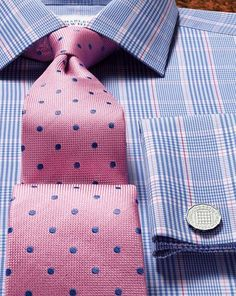 Great shirt and tie combo blue bengal stripe tailored fit for Pink shirt tie combo