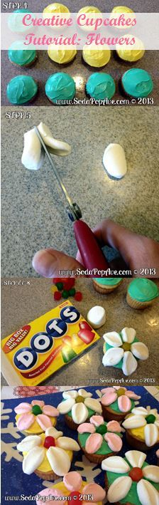 Step by Step instructions on how to make these great Summer Flower Cupcakes. Check it out at www.SodaPopAve.com