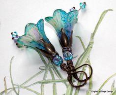 Lucite Flower Earrings,'Water Meadow', Victorian Earrings, Boho Earrings