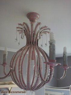 decoraconmaría: Imagen final después del proceso del cambio lámpara cristal