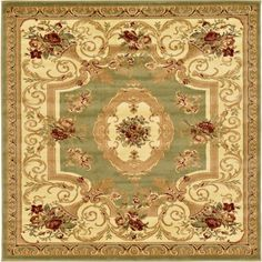 Traditional Versailles Green 6 ft. x 6 ft. Area Rug
