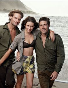 Lost cast- Josh Holloway, Evangeline Lily, and Mathew Fox