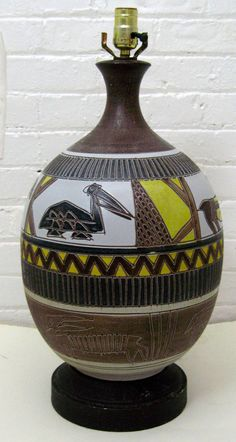 1960s Mid Century Modern Ceramic Tribal Lamp by Modarts1 on Etsy