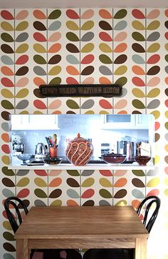 Orla Kiely wall - in between kitchen & dining table...yesss...