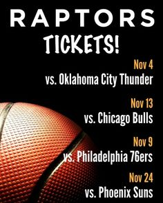 $19 and Up for Tickets to the Toronto Raptors vs. Oklahoma City Thunder on November 4 OR Philadelphia 76ers on November 9 OR Chicago Bulls on November 13 OR Phoenix Suns on November 2 Thunder City, Oklahoma City Thunder, Phoenix Suns, Milwaukee Bucks, Dallas Mavericks, Toronto Raptors, Chicago Bulls, November 13, Ticket