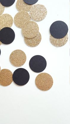 Polka Dot Table Confetti {200 pcs} Cardstock & Glitter Party Decorations, Gold and Black Wedding, Bridal Shower, Anniversary
