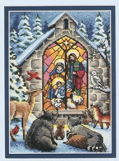 "Kit in blue plaid messenger bag: Dimensions ""Petite Holy Nativity"" gold collection Cross Stitch Love, Cross Stitch Designs, Cross Stitch Patterns, Cross Stitching, Cross Stitch Embroidery, Plastic Canvas, Religious Cross, Christmas Embroidery, Christmas Cross"