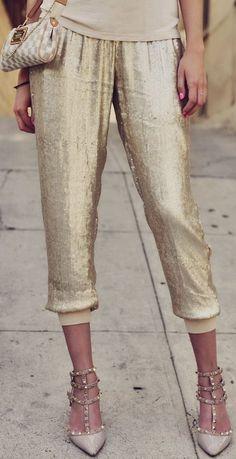 Gold Hawk Gold sequin Joggers