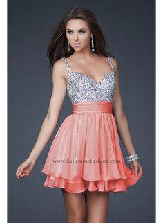 La Femme 16813 Sparkly Short Coral Dress