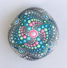RESERVED FOR MIA Dot Art Mandala Painted Stone by CreateAndCherish
